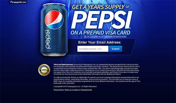 Get A Year's Supply Of Pepsi On A Prepaid Visa Card!