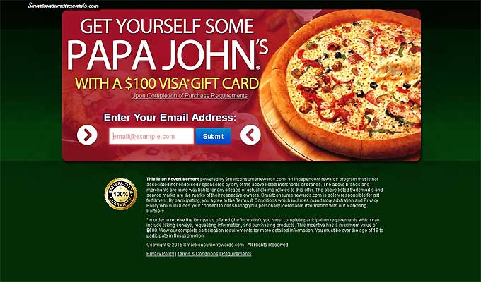 Enjoy Papa John's Pizza With A $100 Visa Gift Card!