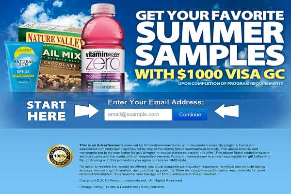 Get Your Summer Samples With A Visa Gift Card